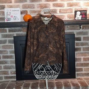 💓BRIGGS button down shirt Leopard print